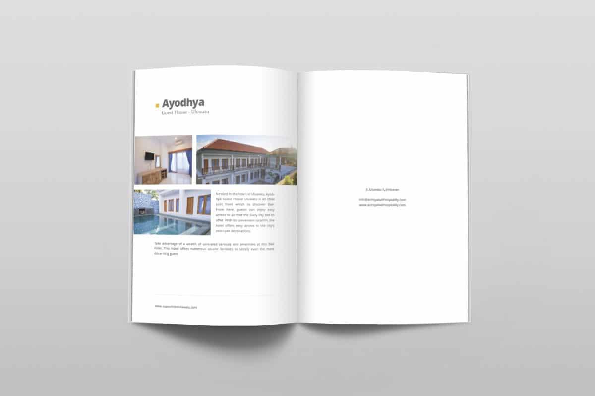 Acintya Hospitality Company Profile Page 12 13 Mocup