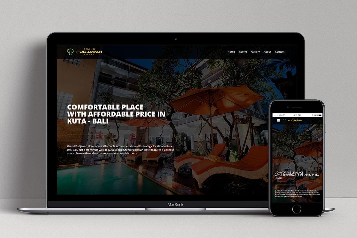 Grand Pudjawan Hotel Web Design Mocup Home Responsiv