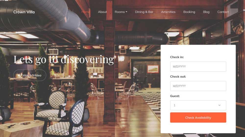 Crown Villas Hotel And Villas Web Design - Paket Website Hotel & Villa - Crown Villas Hotel And Villas Web Design