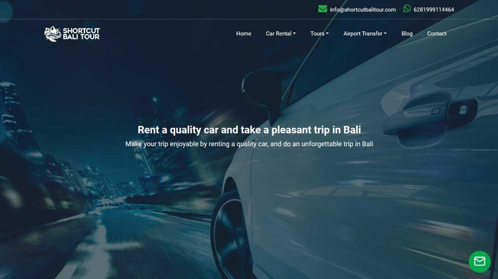 Shortcut Bali Tour And Car Rental Web Design - Paket Website Tour Travel & Car Rental - Shortcut Bali Tour And Car Rental Web Design