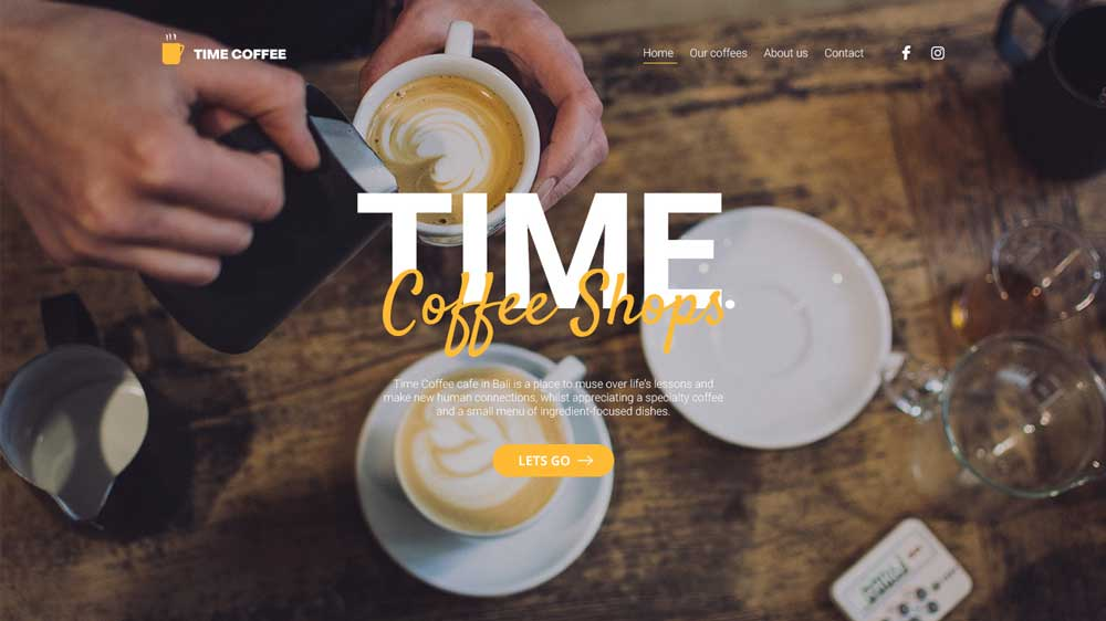 Time Coffee Restaurant Web Design - Website Restaurant - Time Coffee Restaurant Web Design