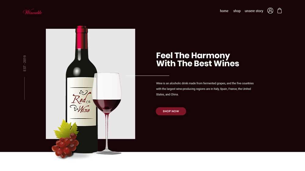 Wines Eccomerce Web Design - Website Toko Online / Ecommerce - Wines Eccomerce Web Design