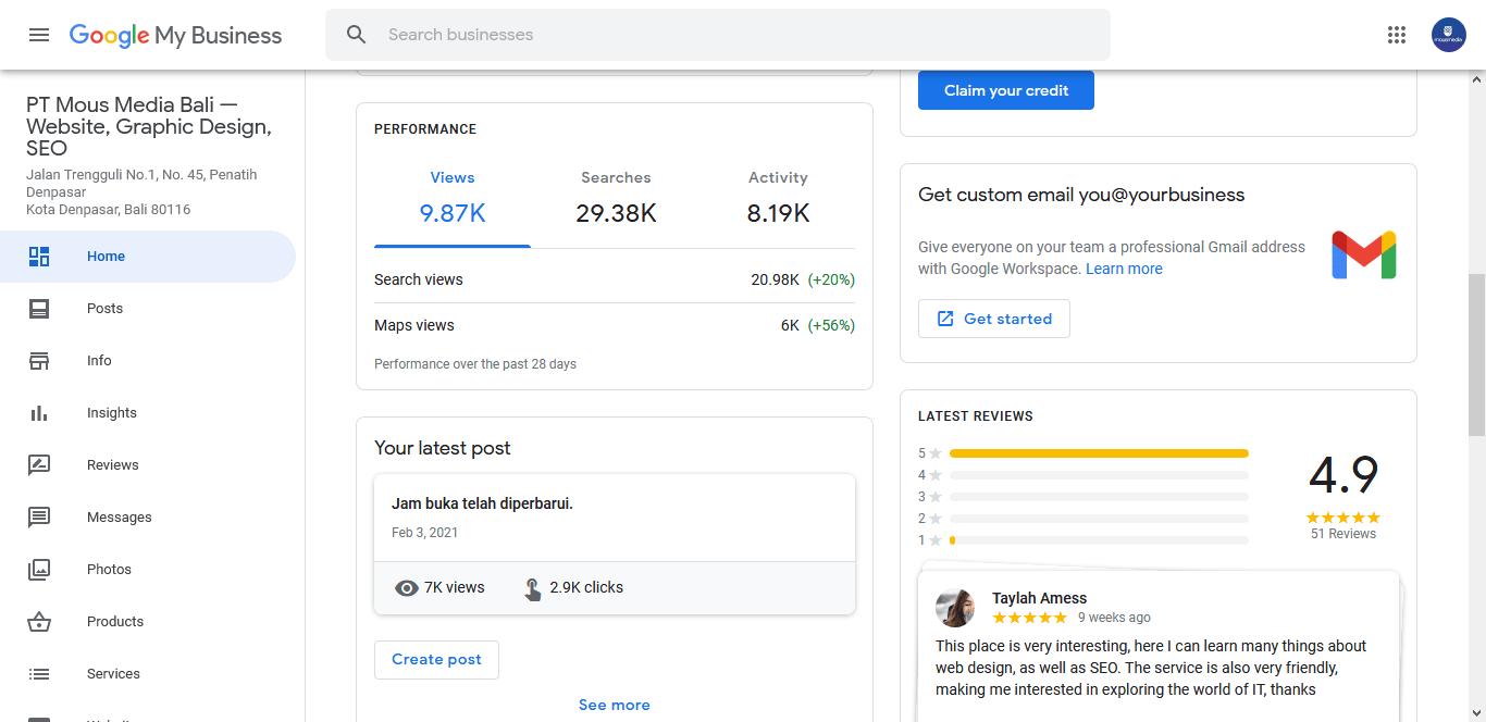 Google My Business dashboard - Benefits of Google my business