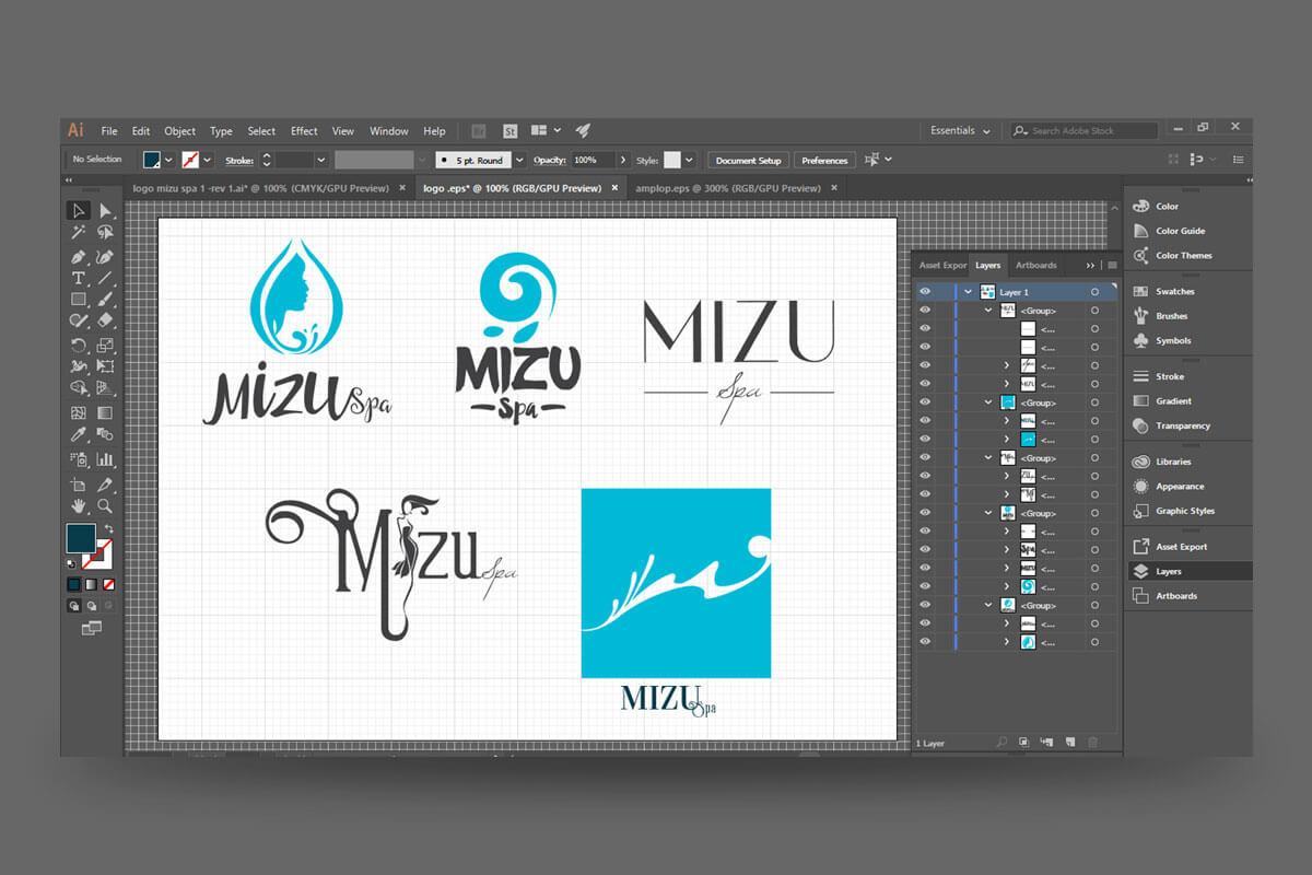 Mizu Spa Bali Logo Process