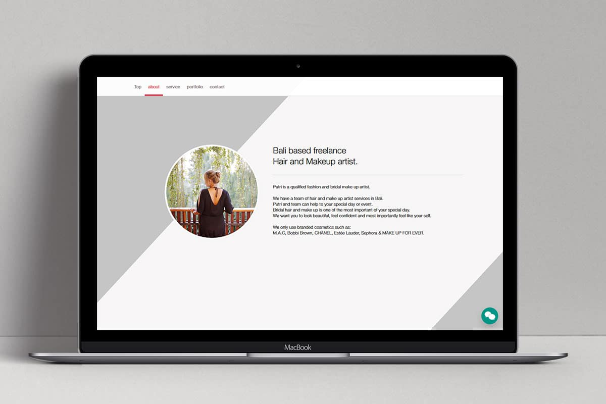 Putri Bali Makeup Web Design Mocup Profile