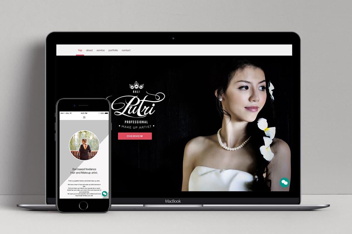 Putri Bali Makeup Web Design Mocup