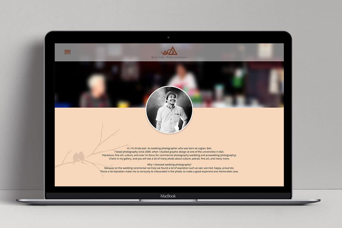 Ranting Photography Web Design Bali Profile Page