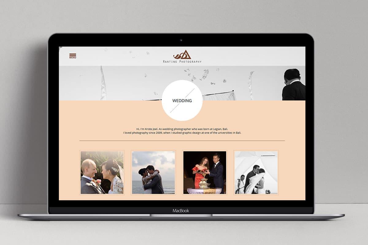 Ranting Photography Web Design Bali Wedding Page