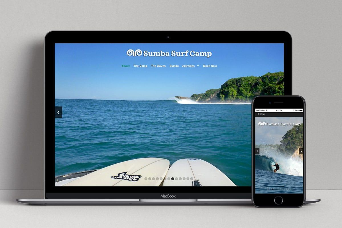 Sumba Surf Camp Web Design Mocup