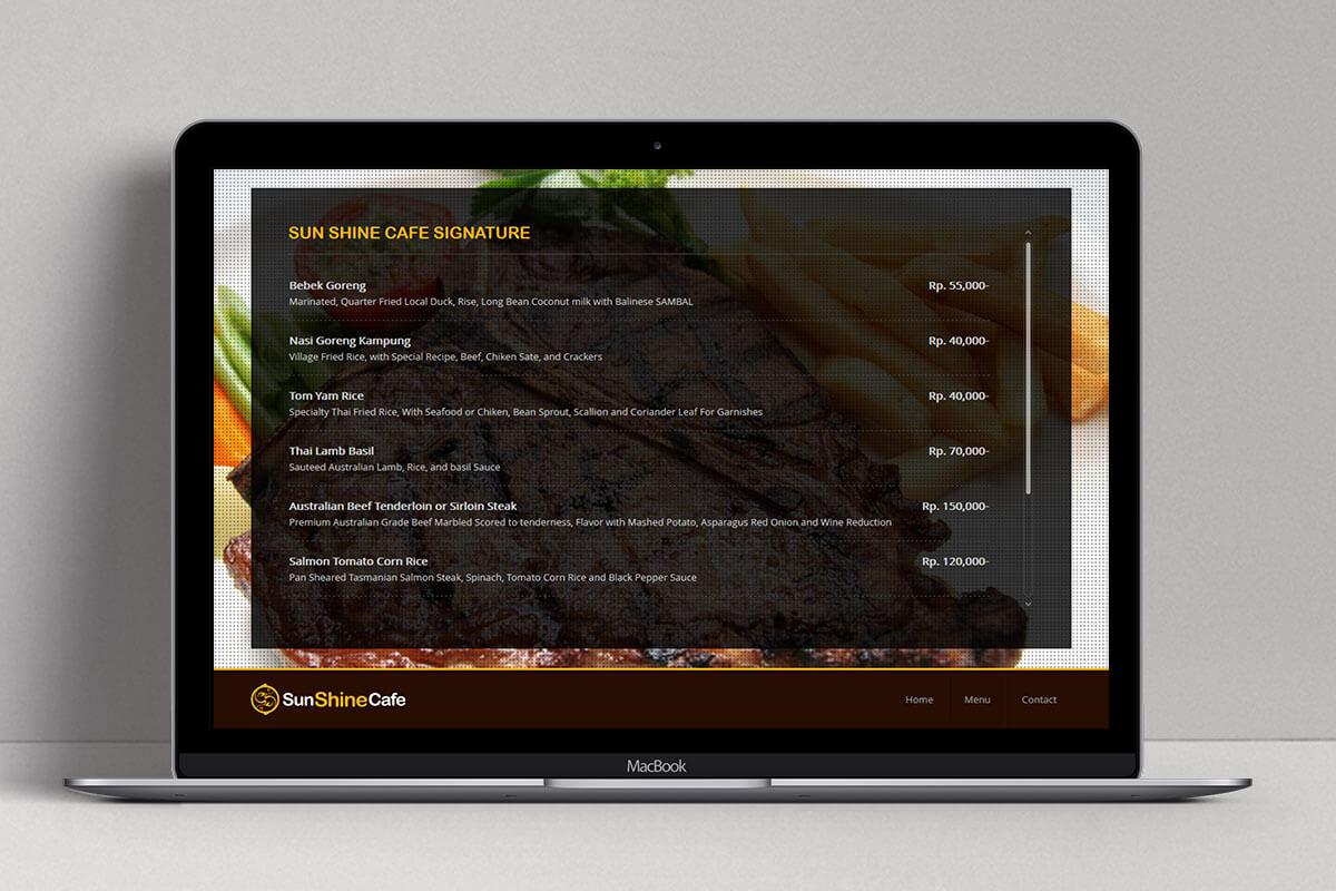 Sunshine Cafe Bali Web Design Mocup Detail Menu