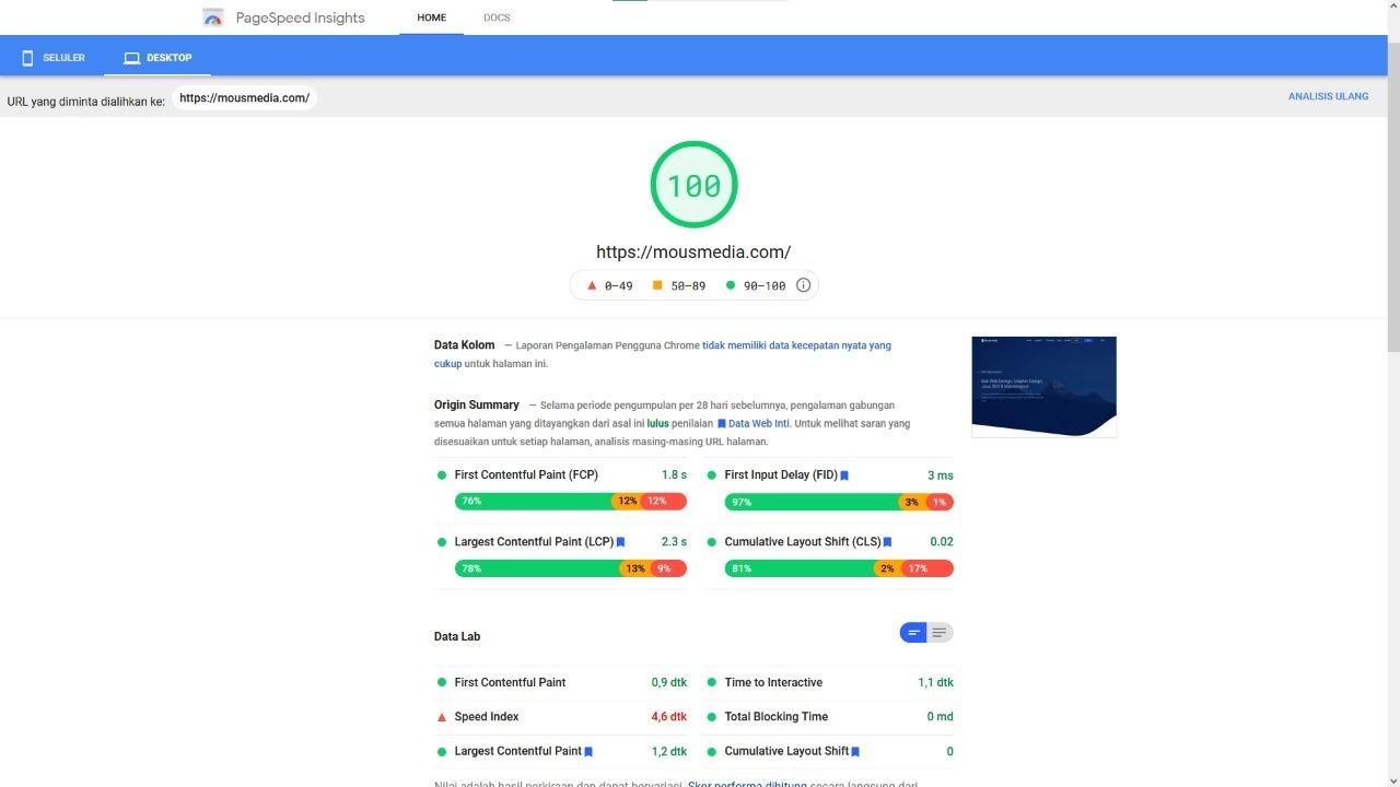 Speed Loading Website Google Page Speed Mousmedia